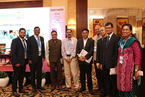 From left to right: Mr Nadeem Anam, MTaI, Mr Indu Bhushan, CEO, AB-NHPM & National Health Agency (NHA), Dr Balram Bhargava, Director General, ICMR, Dr V G Somani, Joint Drug Controller of India, CDSCO, Dr Girdhar Gyani, Director General, AHPI, Mr Ninad Gadgil, Country Business Leader, Healthcare, 3M India, Mr Prabal Chakraborty, VP & Managing Director, Boston Scientific India and Dr Ratna Devi, CEO & Founder, DakshamA and Indian Alliance of Patients Group (IAPG).