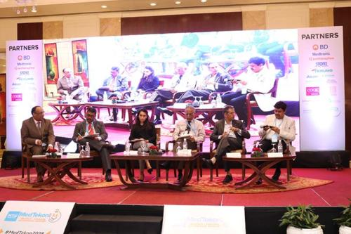 Role of investors and Medical Technology industry in Ayushman Bharat's success. From left to right- Mr Pavan Choudary, Chairman & Director General, MTaI & Managing Director, Vygon India, Mr Badhri Iyengar, Managing Director, Smith & Nephew India, Ms Namritha Unnikrishnan, Assistant Vice President, Invest India, Dr Sanjiv Kumar, Director, IIHMR and Mr Gautam Gode, Co-founder & Managing Director, Samara Capital and Dr Shiva Kant Misra, Director, Shivani Hospitals