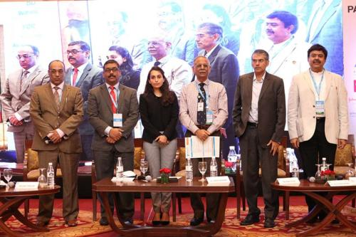 Group photo of the panel, from left to right: Mr Pavan Choudary, Chairman & Director General, MTaI & Managing Director, Vygon India, Mr Badhri Iyengar, Managing Director, Smith & Nephew India, Ms Namritha Unnikrishnan, Assistant Vice President, Invest India, Dr Sanjiv Kumar, Director, IIHMR, Mr Gautam Gode, Co-founder & Managing Director, Samara Capital and Dr Shiva Kant Misra, Director, Shivani Hospitals